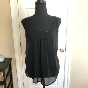 Black top with leather trim